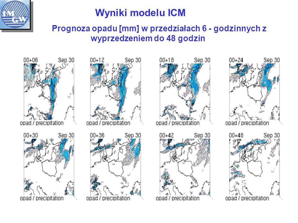 Wyniki modelu ICM Prognoza opadu [mm] w przedziałach 6 - godzinnych z wyprzedzeniem do 48 godzin.